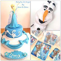Detalles de un cumpleaños de Frozen. party box  #piñata #torta #souvenirs
