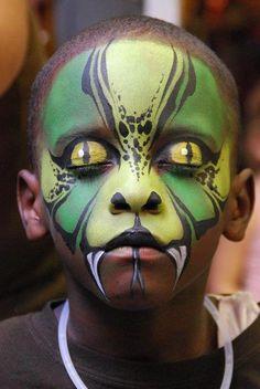 Halloween Kostüm basilisk schminke idee
