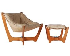 Scandinavian Leather Sling Lounge Chair and Ottoman | From a unique collection…