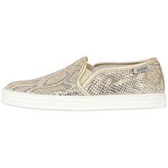 Hogan Rebel Women Snake Printed Leather Slip-on Sneakers ($360) ❤ liked on Polyvore featuring shoes, sneakers, slip-on shoes, metallic shoes, slip on trainers, leather upper shoes and leather sneakers
