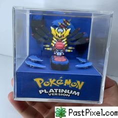 Hand Made with love - inspired by Pokemon Game Boy Advance. Hand cut cardboard, with high-quality card stock prints. Hand-mounted on a transparent Acrylic cube. Giratina Pokemon, Pokemon Mew, Pokemon Dragon, Ghost Pokemon, Video Game Crafts, Video Game Rooms, Space Games, Modelos 3d, Barbie