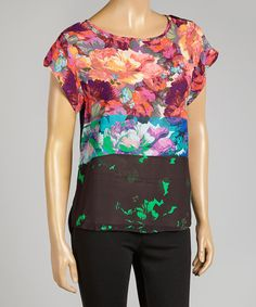Red & Blue Tea Rose Cap-Sleeve Top by Nicole Miller, $52 !!  #zulily #zulilyfinds
