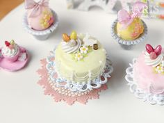 Easter Pastel Fondant Cake (Yellow) - Miniature Food in 12th Scale for Dollhouse