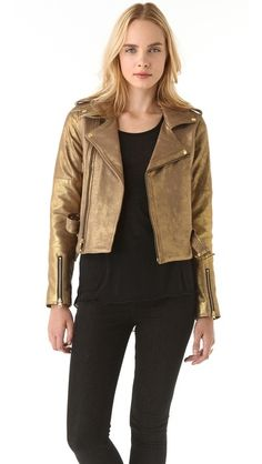 obsession with this @rebeccaminkoff metallic jacket