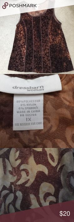 Dress Barn velvety top Dress Barn velvety top. Colors are shades of brown and gold. Has a velvety feel. Tops Tank Tops