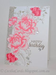 Materials used: Stamps - Altenew Peony Bouquet and Winnie and Walter The Party… Hand Made Greeting Cards, Making Greeting Cards, Flower Stamp, Flower Cards, Card Making Inspiration, Making Ideas, Altenew Cards, Tampons, Pretty Cards