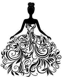 Vector silueta de mujer joven en elegante vestido de boda vectoriales