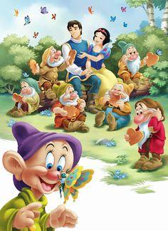 Snow White the seven dwarfs Was my Moms all time favorite Disney Movie Disney Love, Disney Art, Disney Pixar, Disney Princess Snow White, Snow White Disney, Disney Cartoon Characters, Disney Cartoons, Disney Images, Disney Pictures