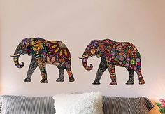 Amaonm Creative Kids Room Wall Decals Removable Cute Cartoon Colorful Animals Sunflower Veins Elephant Wall Stickers Murals Wallpaper for Nursery Room Bedroom Living room TV Background 14x24 *** You can get more details by clicking on the image.