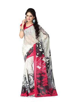 LadyIndia.com # Casual Sarees, Chiffon Printed Saree White - Designer Casual Sarees, Printed Sarees, Casual Sarees, Formal Sarees, Office Wear, Sarees, https://ladyindia.com/collections/ethnic-wear/products/chiffon-printed-saree-white-designer-casual-sarees