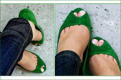green flats with peekaboo toe