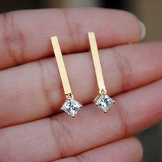 Diamond Earrings - Bridal Ear Studs - Princess Diamond Simple, ct Princess cut diamonds, dangling delicately from matts gold bar Diamond Studs, Diamond Jewelry, Diamond Earrings, Stud Earrings, Diamond Bar, Diamond Necklaces, Silver Earrings, Simple Earrings, Beautiful Earrings