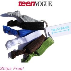 Twistband Hair Ties, no dents or damage to hair. Doubles as a fashionable wristband.
