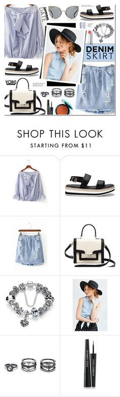 """""""Yoins 4 - Summer Date: The State Fair (Off shoulder Stripe Blouse+Denim Skirt)(#385)"""" by anyasdesigns ❤ liked on Polyvore featuring Kate Spade, BDG, LULUS, Dolce&Gabbana and Tiffany & Co."""
