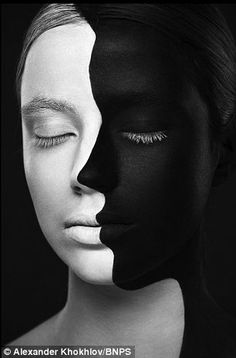 black and white designs on faces art project