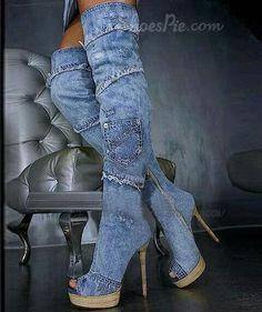 Denim boot heels