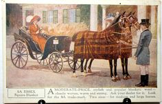 5A Essex Square Horse Blanket Advertising Postcard Horsedrawn Carriage C1910