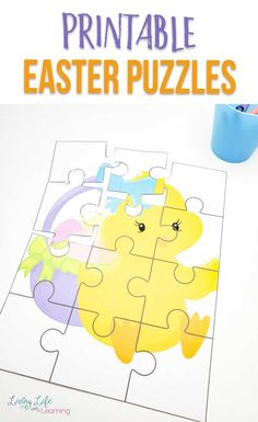 Create your own DIY Easter basket with these adorable Easter printable puzzles. They're a great learning activity and non-candy option for your Easter basket. #Easter #puzzles