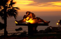 park of love in miraflores (lima, peru) at sunset.