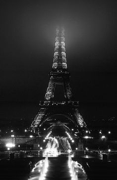 Eifffel Tower in fog, Paris.