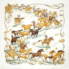 Hermes Paris Les Mustangs Silk Scarf Carre by Robert Dallet - Title:Les Mustangs Artist: Robert Dallet Year(s) of issue: 2012 Condition: Pristine condition with no imperfections of any sort. Includes Hermes box as pictured. Hermes Box, Hermes Paris, Hermes Handbags, Luxury Handbags, Mustangs, Silk Scarves, Hermes Scarves, Vintage World Maps, Prints