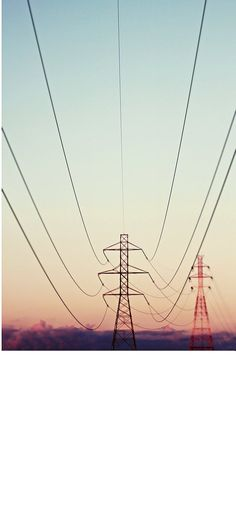 Landscape Photography- 8x10 Power lines sunset blue pink red symmetrical art lines tower via Etsy
