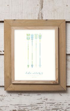 Like arrows in the hand of a warrior are the children born in one's youth. Psalm 127:4 || Nursery Print Design || Baby Boy Nursery || Short and Sweet Creative Shop