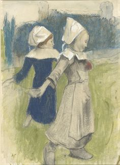 Paul Gauguin. Study for Breton Girls Dancing, Pont-Aven, 1888. Pastel and charcoal, with watercolor and gouache; The Morgan Library & Museum; Thaw Collection, 2010; Photography: Graham S. Haber