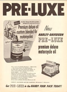 1958 Harley-Davidson Pre-Luxe Motorcycle Oil Ad