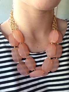 Peach Coral Double Strand Statement Necklace