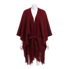 SheIn(sheinside) Red Tie-Waist Tassel Cape Sweater (€21) ❤ liked on Polyvore featuring tops, sweaters, red, tie waist sweater, three quarter sleeve tops, poncho style sweater, tassel top and red top