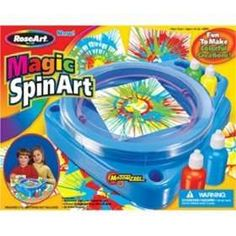 Spin Art! So nostalgic for me and fun for the kids. This is a timeless kids activity. Very inexpensive for a machine, maybe $10-$15 at WalMart. Keep refilling the paint and cut your own paper - Hours of fun!