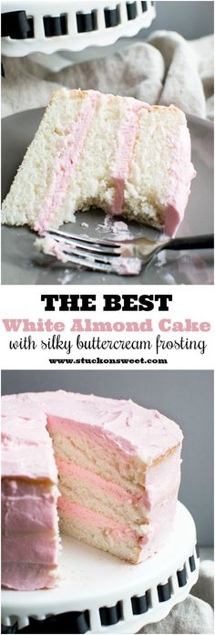 The BEST White Almond Cake recipe out there. I've made this a ton and it turns out every time! Frosted with the silkiest buttercream frosting out there! A great wedding cake and can be made into cupcakes!