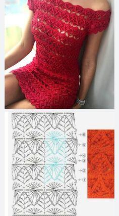 Crochet Flower Patterns, Crochet Stitches Patterns, Lace Patterns, Clothing Patterns, Crochet Top Outfit, Crochet Clothes, Free Crochet Bag, Crochet Lace, Crochet Diagram