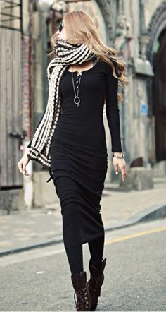 black jersey midi dress + long pendant + tights + lace up boots + long scarf // @dressmeSue