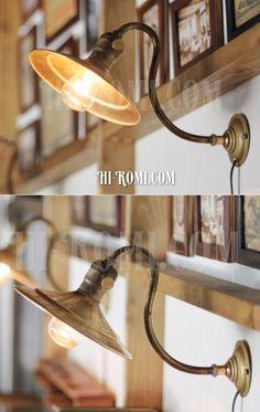 【商品番号:WOL-13-26】工業系ヴィンテージ/真鍮シェード壁掛ライト/アンティークインダストリアルウォールライト照明/ Hi-Romi.com(ハイロミドットコム) (TEL)078-203-9620 (Mail)info@hi-romi.com (URL)http://hi-romi.com