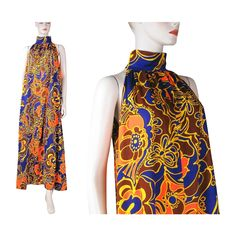 1970's Psychedelic Floral Print Sleeveless Maxi Dress from The Vintage Genie at RubyLane.com