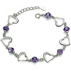 "Rhodium Plated 925 Sterling Silver Amethyst Bracelet 7.5"" on amazon today for just $25.00 & eligible or FREE Super Saver Shipping find more like this at www.ddsgiftshop.com"