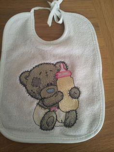 Teddy Bear with a bottle of milk machine embroidery design