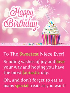Best Birthday Quotes : Sparkling Cupcake - Happy Birthday Card for Niece - Quotes Boxes Happy Birthday Niece Messages, Birthday Cards For Niece, Happy Birthday Wishes Cards, Birthday Wishes For Sister, Happy Birthday Meme, Happy Birthday Pictures, Birthday Greeting Cards, Birthday Greetings, Birthday Reminder