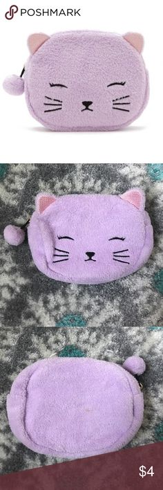 Purple Cat Bag Cute Purple Cat / Kitten Bag. Great for make up & other small items. In great condition just a tiny bit dirty as shown in pictures but can be washed. Zipper working just fine! Forever 21 Bags