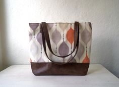 Tote bag handbag waxed cotton canvas and faux by CheriDemeter, $42.00