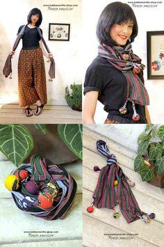 Batik Amarillis's Signature Lollies shawl  Features patchwork of  various Lurik…