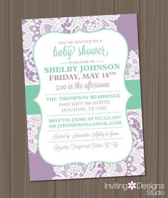 Hey, I found this really awesome Etsy listing at https://www.etsy.com/listing/198516798/girl-baby-shower-invitation-lace