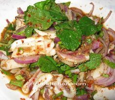 Spicy Squid Salad or Larb Pla Meuk is a Thai style salad. I adapt from larb mou . This is a dish of spicy squid is served as a snack at par...
