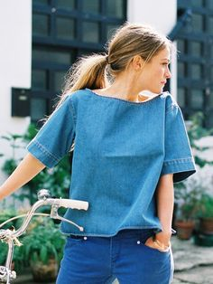 denim top + blue jeans