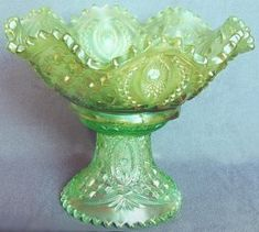 *MEMPHIS ~ Fruit Bowl sitting on top of a punch base, Ice Green. Appears that this fruit bowl was designed to be used without a base.