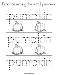 practice writing the word pumpkin coloring page twisty noodle