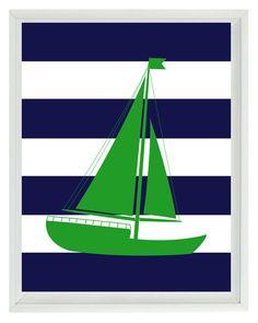 Nautical Nursery Art Print Set - Green Navy Blue Stripes Decor - Whale Anchor Sailboat Flags - Wall Art Home Decor Set 4 8x10. $50.00, via Etsy.
