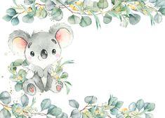 Baby Shower Templates, Printable Baby Shower Invitations, Baby Shower Printables, Baby Animal Drawings, Cute Drawings, Baby Boy Nursery Themes, Baby Koala, Clip Art, Baby Boy Shower